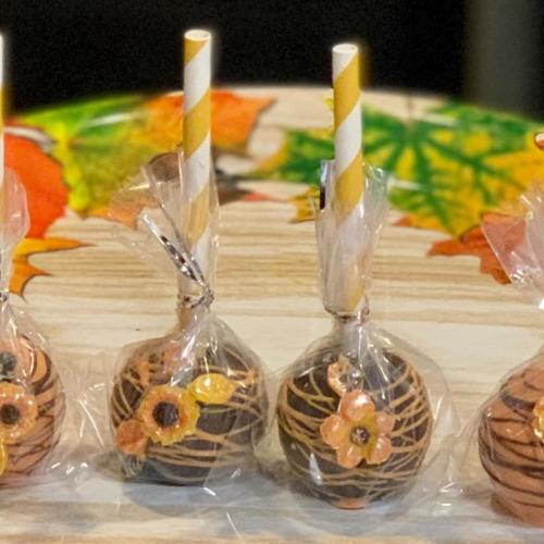Fall Flower Cake Pops and Packaging