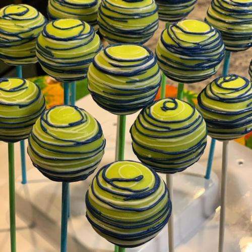Green and Blue Cake Pops
